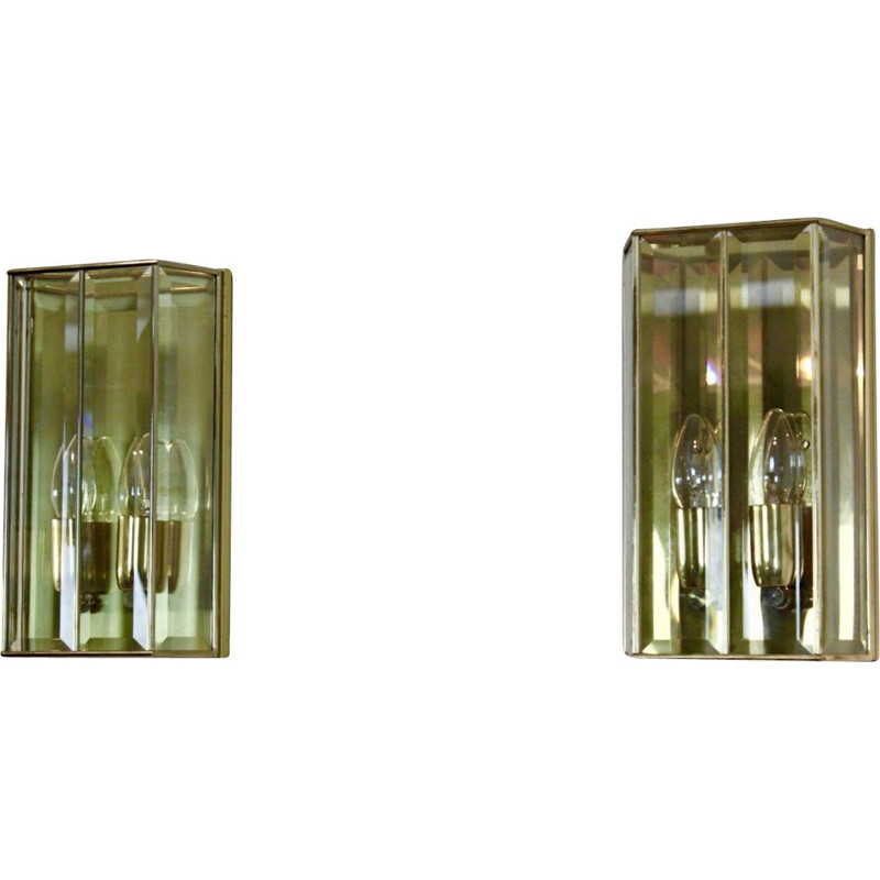 Vintage Pair of glass and brass wall lamp, France