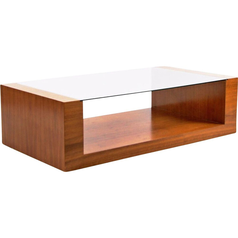 Vintage coffee table in wood and glass, Czechoslovakia 1980s