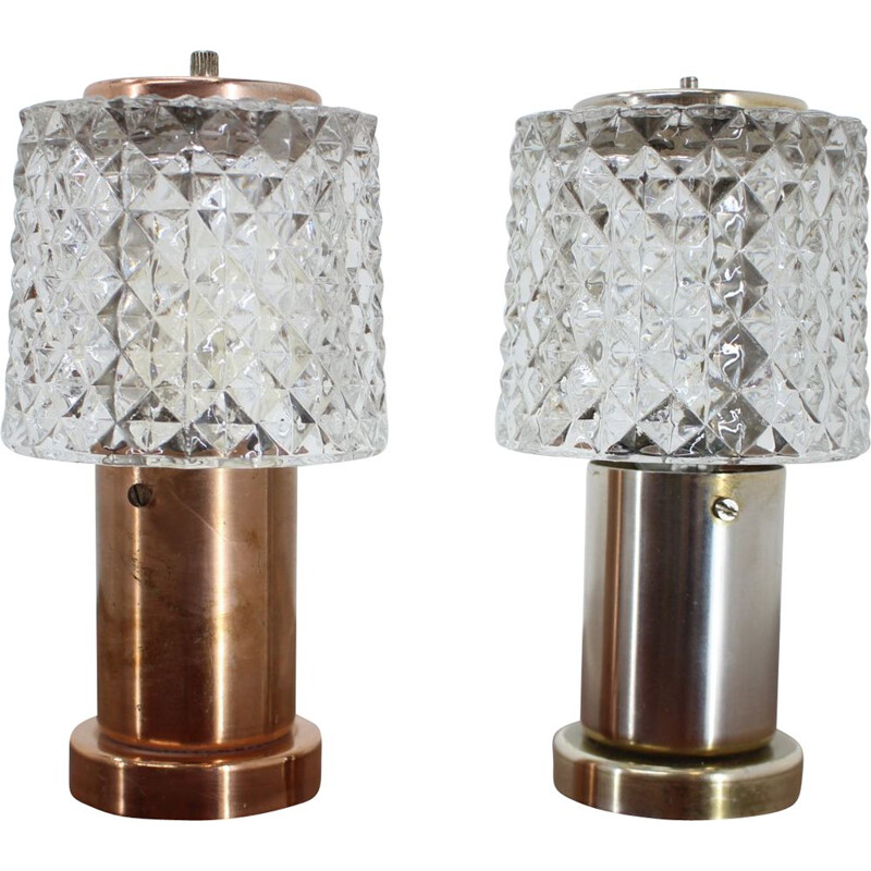 Vintage Pair of small table lamps by Kamenický Šenov - 1970s