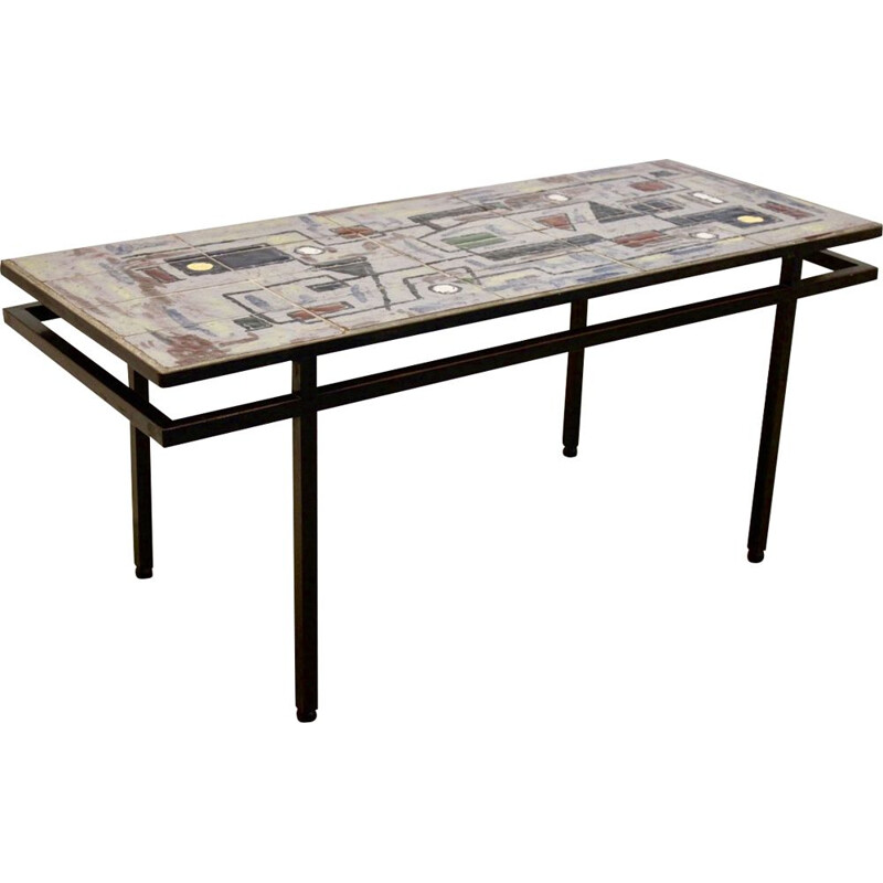 Vintage Brutalist Belgian Ceramic and Steel Artwork Coffee Table, 1970s