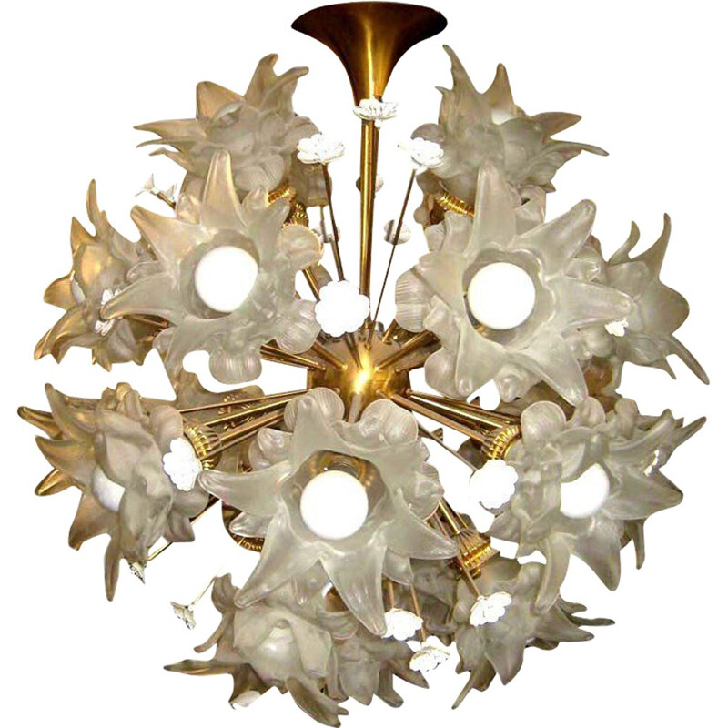 Vintage chandelier in opaline and brass, 1960