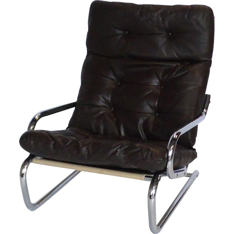 Vintage armchair in leather and chrome, Sweden 1970