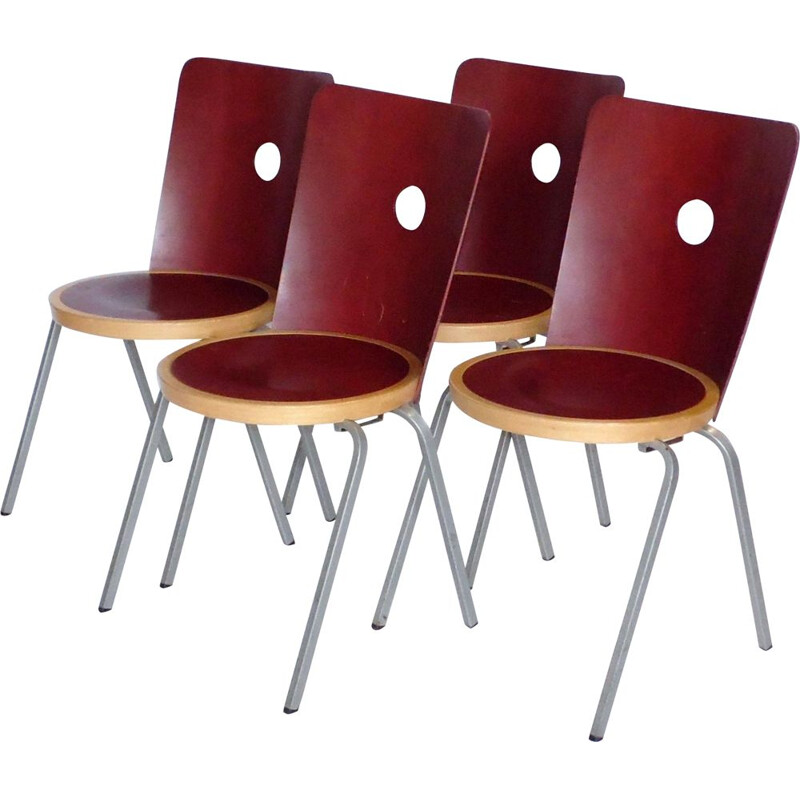 Set of 4 vintage chairs by Borje Lindau for Bla Station 2000