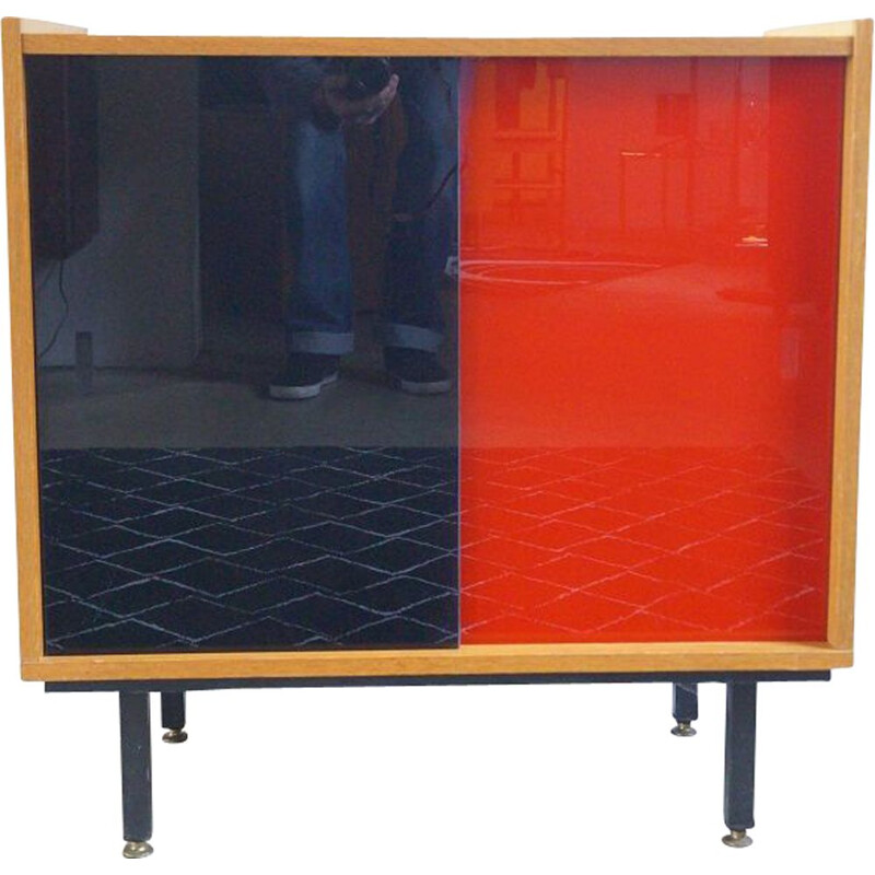Vintage wooden and glass sideboard 1950