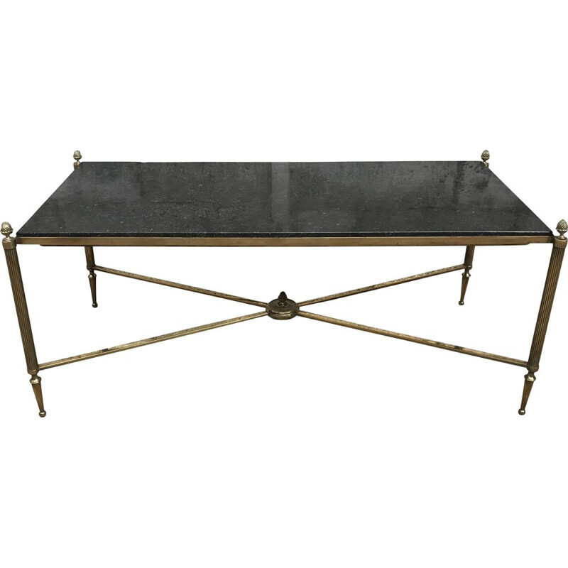 Vintage coffee table in bronze & brass with black granite top from Maison JANSEN 1940