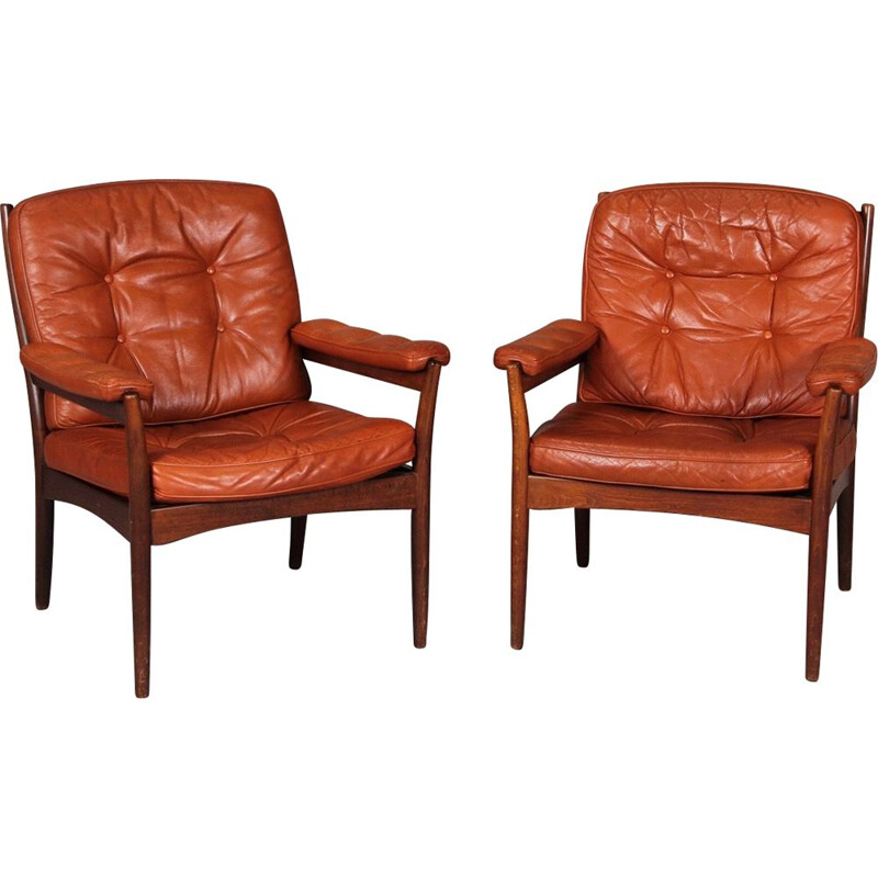 Pair of vintage armchairs in leather  Scandinavian design Gote Mobler 1950