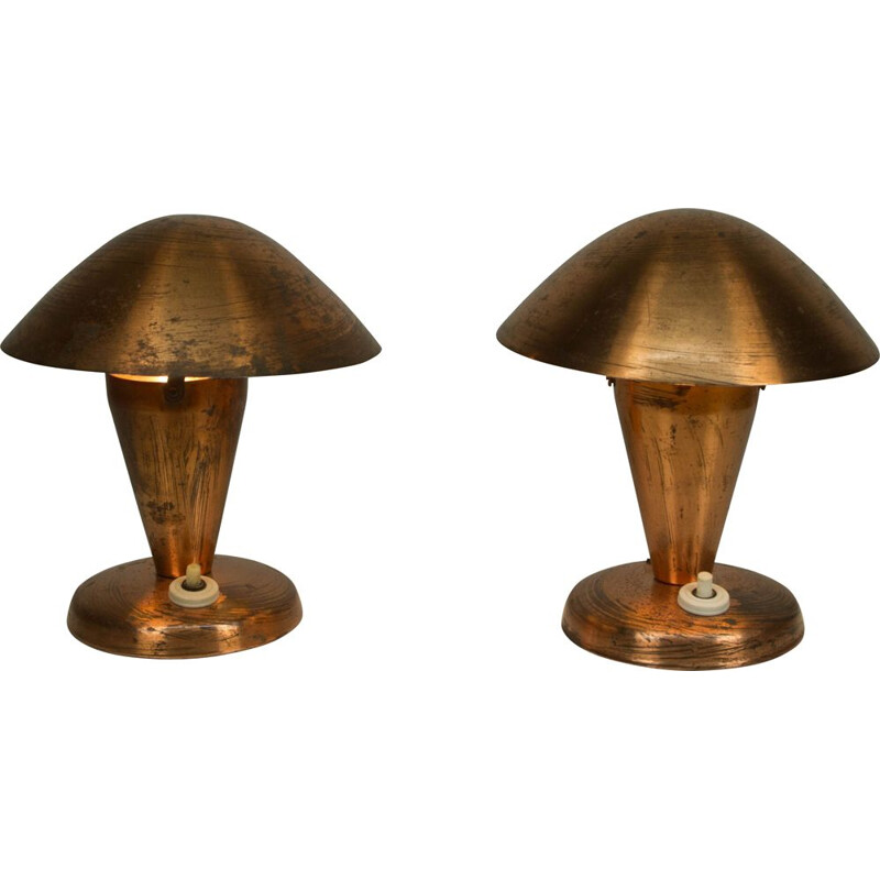 Set of 2 vintage brass table lamps, 1930s