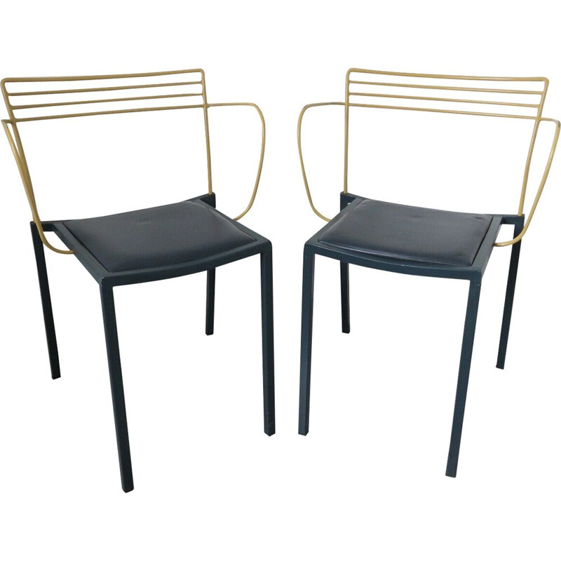 """Set of 2 vintage """"piccolo"""" chairs by Pascal Mourgue for Fermob, 1990s"""
