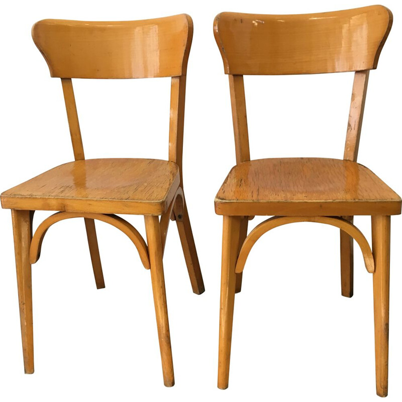 Set of 2 vintage wooden chairs, France, 1960s
