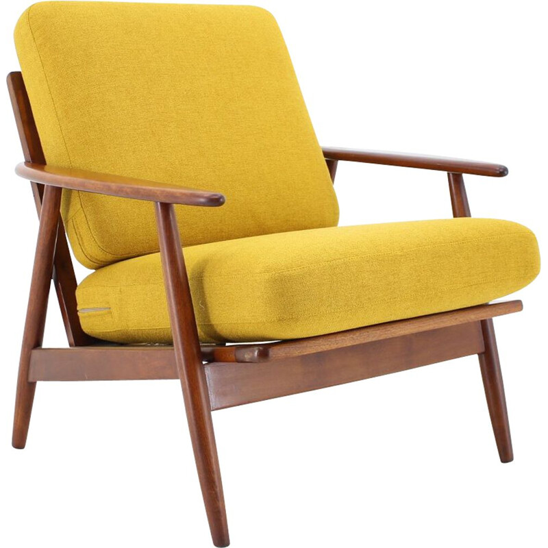 Vintage teakwood and yellow fabric armchair, Denmark, 1960s