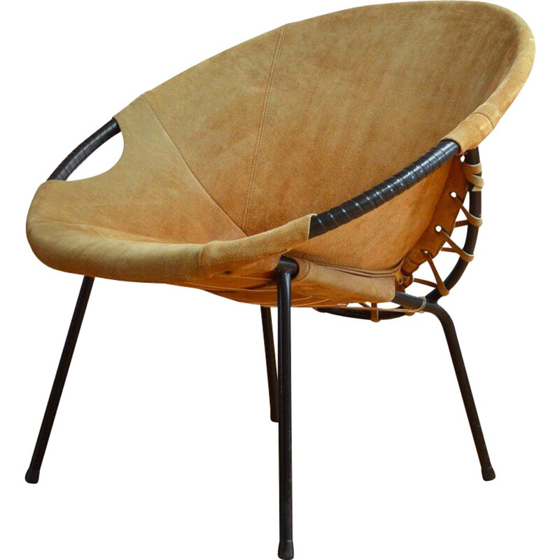 """Vintage suede armchair """"Circle"""" by Lusch Erzeugnis, Germany, 1960"""