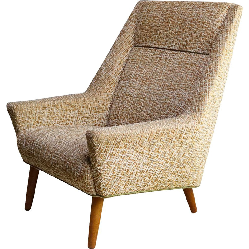 Vintage armchair with brown and white patterns, 1960s