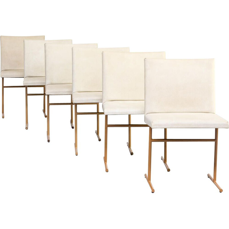 Set of 6 vintage skai and metal dining chairs, 1970s