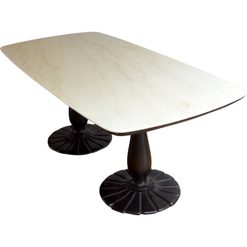 Vintage marble and wood dining table, France, 1930s