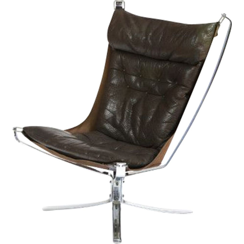 Vintage Falcon armchair in chrome by Sigurd Ressell for Vatne Mobler, 1970s