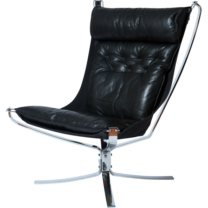 Vintage black Falcon armchair in chrome by Sigurd Ressell for Vatne Mobler, 1970s