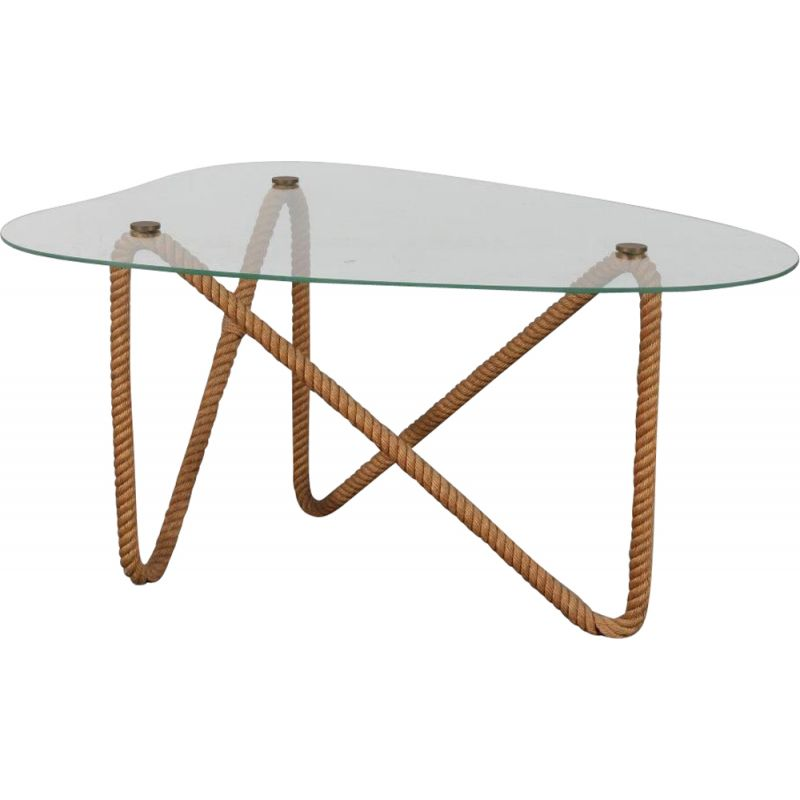 Vintage rope coffee table by Audoux & Minet, France, 1970s
