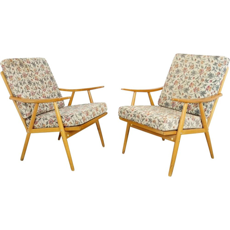 Pair of vintage armchairs by Ton, 1970s