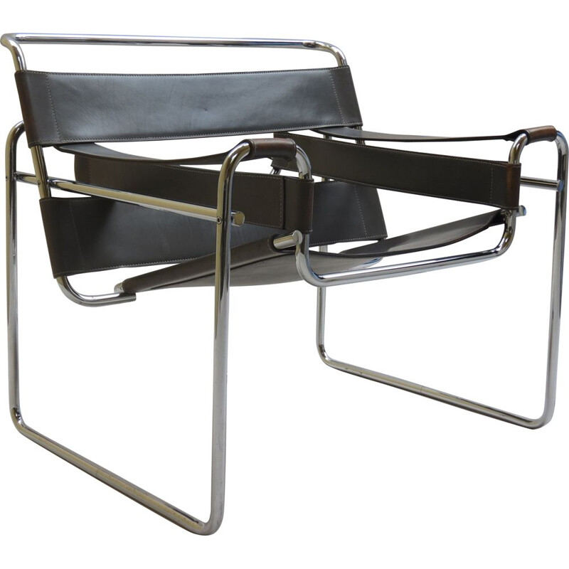 Vintage grey Wassily chair by Marcel Breuer for Knoll, 1980