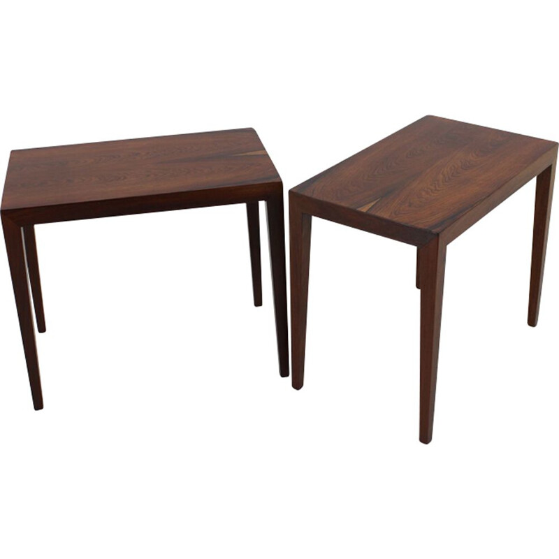 Set of 2 rosewood vintage side tables by Haslev, 1960s