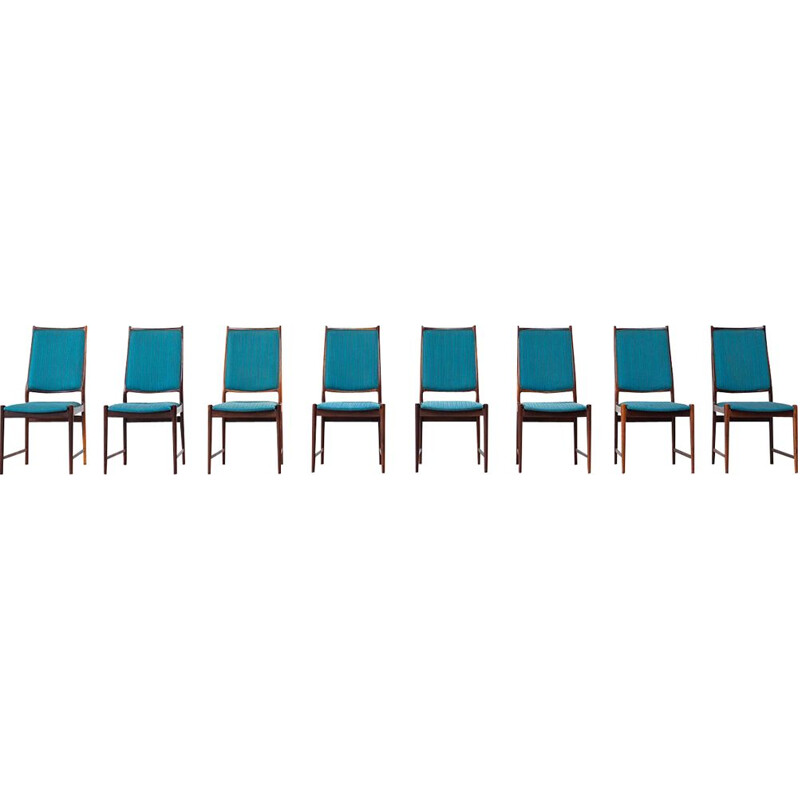 Set of 8 rosewood vintage dining chairs by Torbjorn Afdal, 1960s