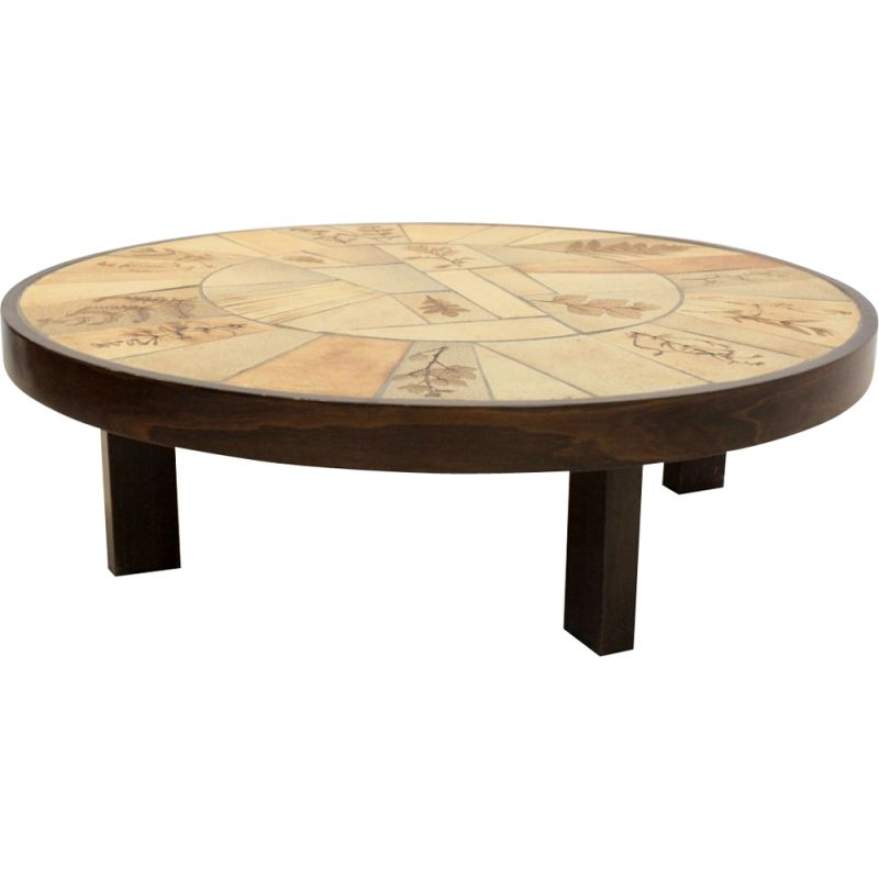 Ceramic and oak vintage coffee table by Roger Capron, 1970s