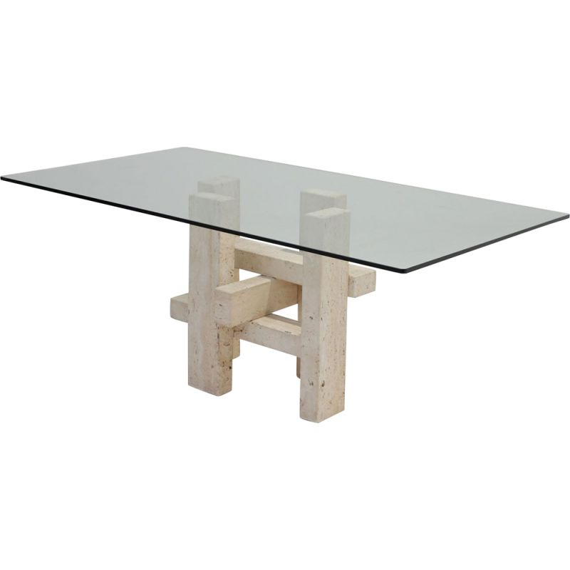 Vintage Travertine dining table by Willy Ballez