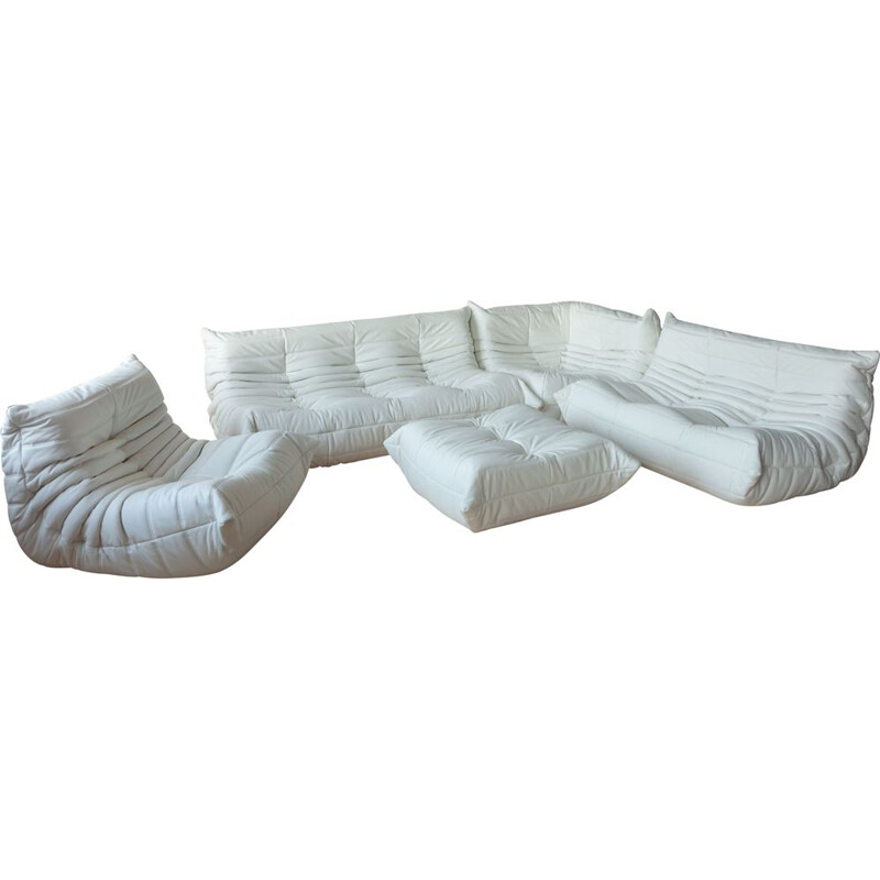 Vintage Togo set in white leather by Michel Ducaroy for Ligne Roset 1973