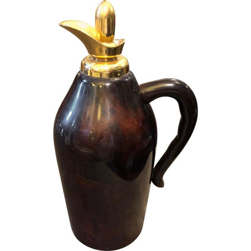 Vintage Brown Goatskin and Brass Thermos Carafe, 1960