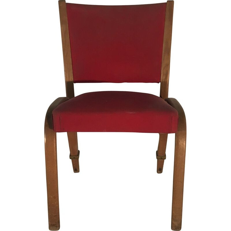 Set of 6 vintage chairs Bow-wood ed Steiner 1950