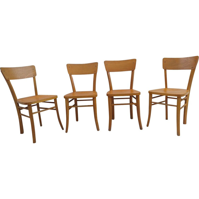 Set of 4 vintage chairs bistro 1950