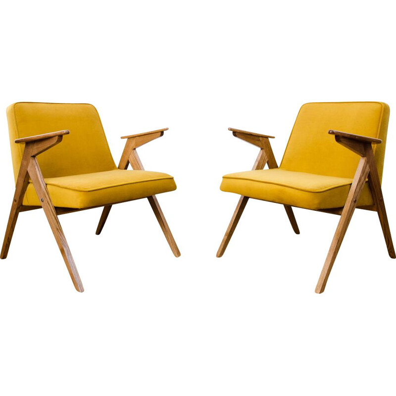 "Pair of Type 300-177 ""Bunny"" yellow armchairs 1970"