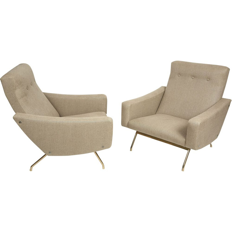 Vintage beige armchairs by Joseph-André Motte Steiner publisher, 1955