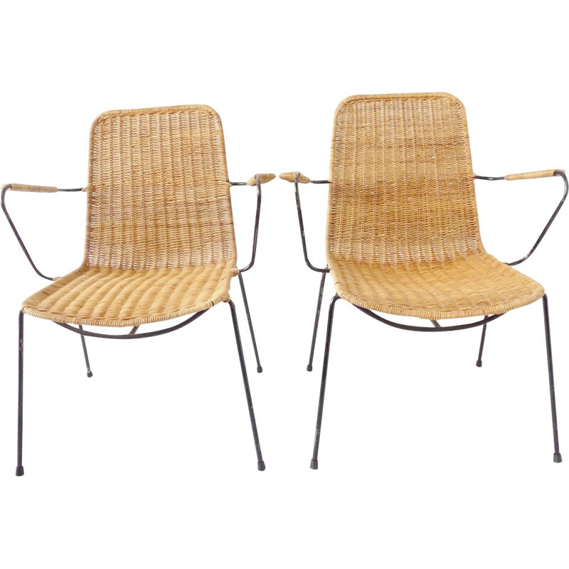 Set of 2 vintage basket wicker chairs by Gian Franco Legler, 1950s