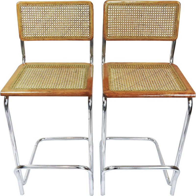 Set of 2 vintage cane and beech bar stools, 1970s