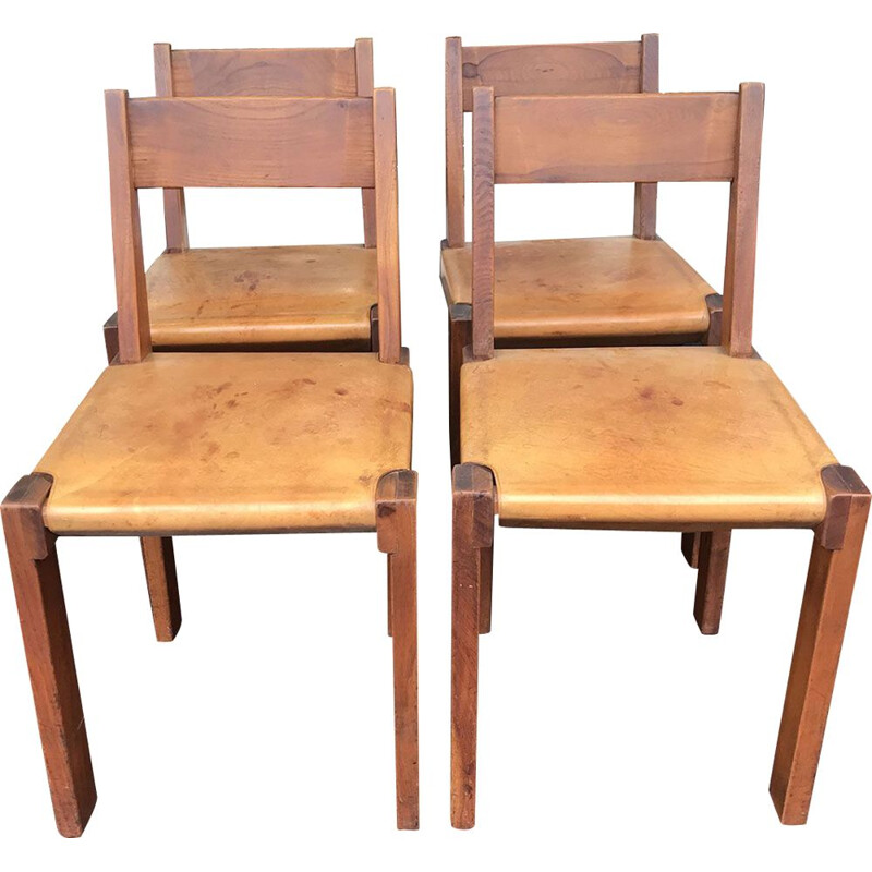 Set of 4 vintage S24 chairs in elm and leather by Pierre Chapo, 1974