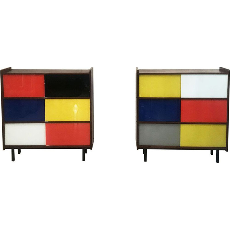 Set of 2 multi-coloured vintage chest of drawers, 1950s
