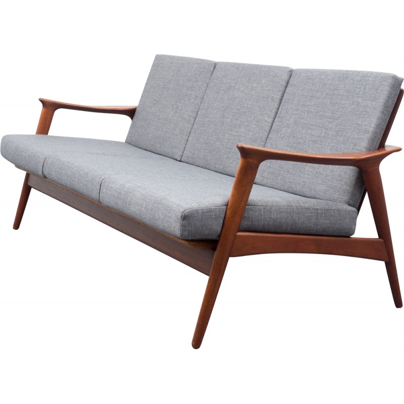 Ordinaire Scandinavian Sofa In Teak And Grey Fabric   1960s