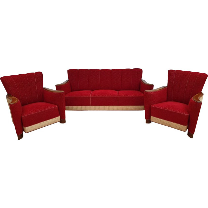 Vintage lounge set in oak wood and red fabric, 1930s