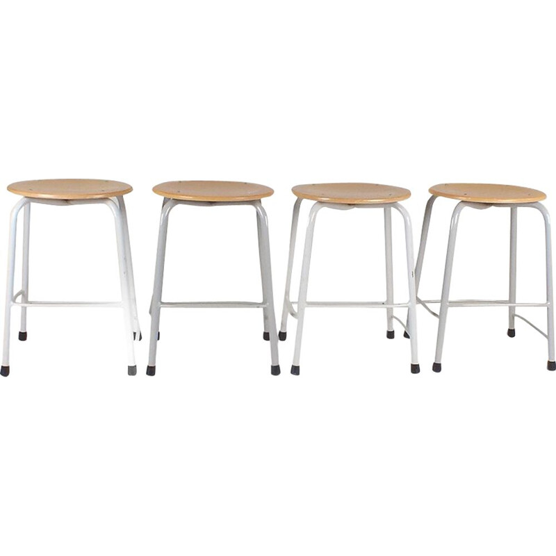 Set of 4 stools with grey base by Presikhaaf, 1960s
