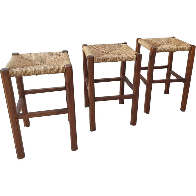 Set of 3 vintage handcrafted vintage stools 1970