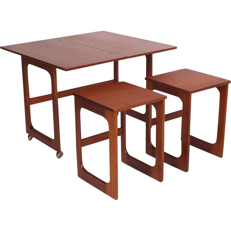 Vintage nesting tables with fold out table by McIntosh