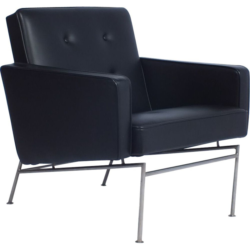Vintage black leatherette armchair by Theo Ruth for Artifort
