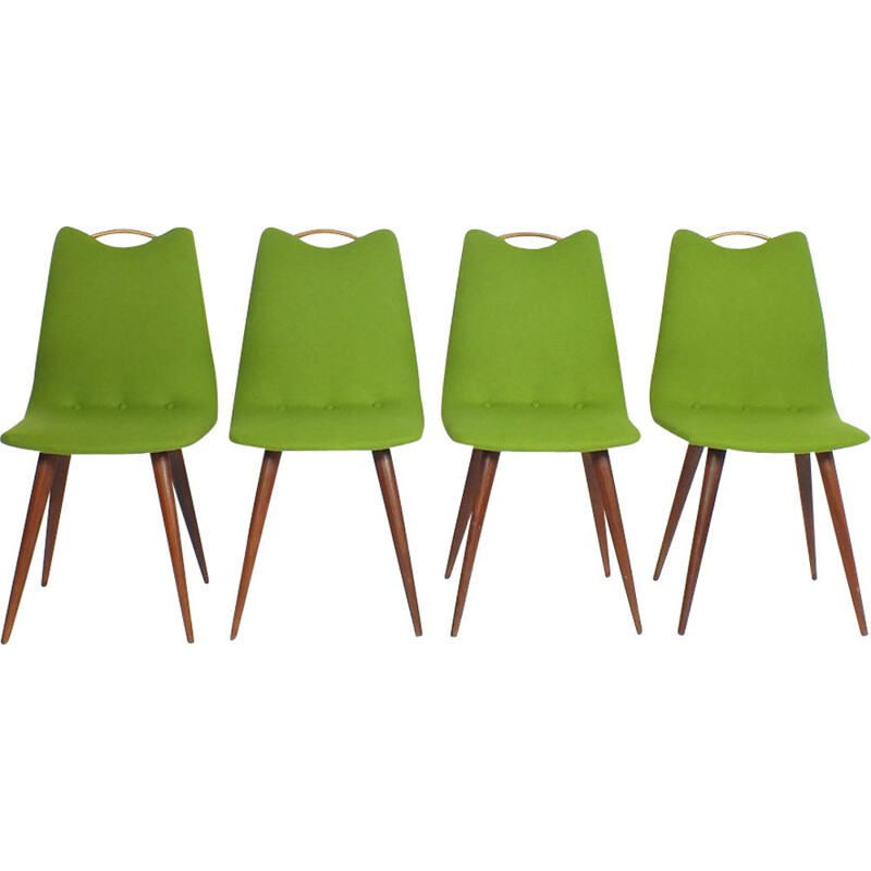 Set of 4 green dining chairs, 1950