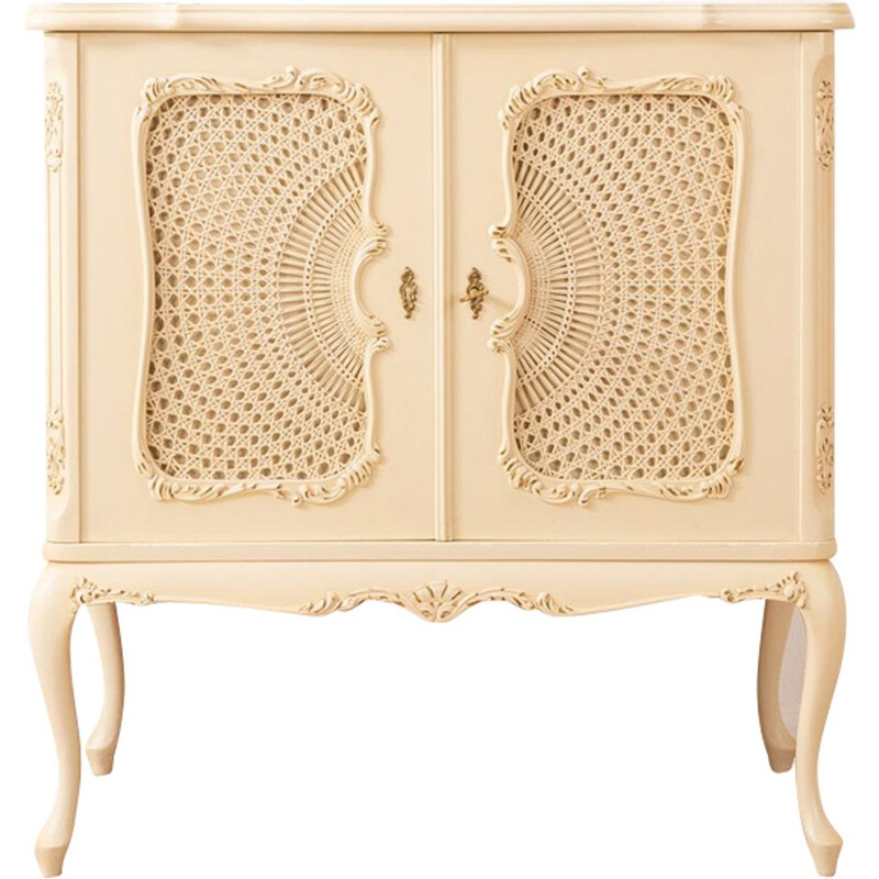 Small vintage cabinet with raffia weave, 1950
