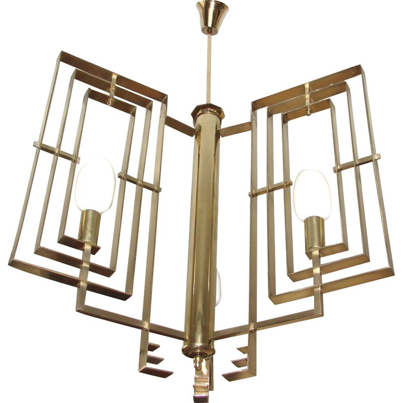 Vintage brass chandelier, Art deco, 1930s