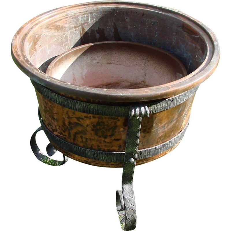 Vintage copper and iron garden pot, 1970s