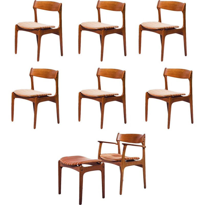 Set of 7 dining chairs and stool by Erik Buch for O.D. Møbler, 1960s