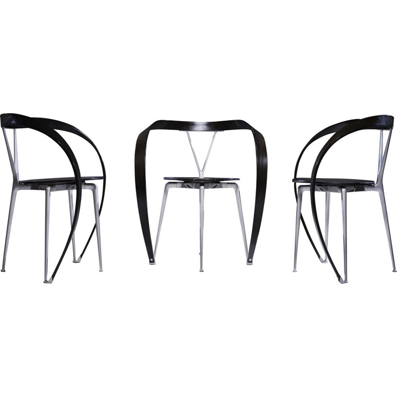 Set of 3 beechwood chairs by Andrea Branzi for Cassina, 1990s