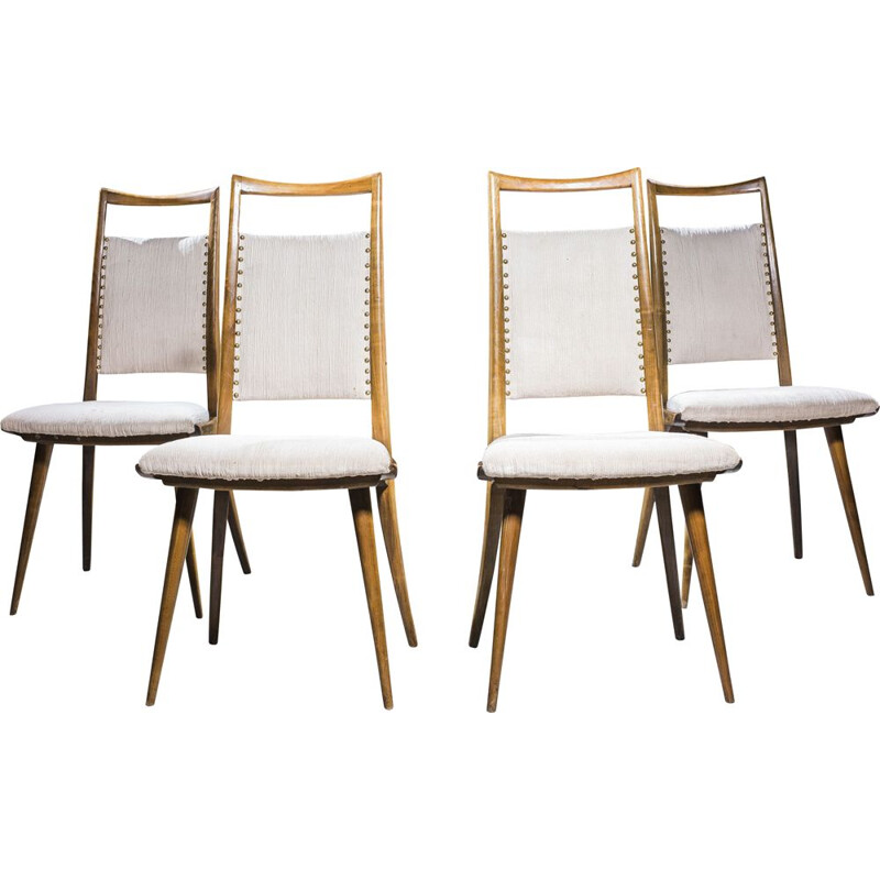 Set of 4 vintage dining chairs in cherrywood, 1960s,